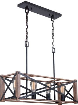 Vaxcel H0238 Colton Modern Rustic Oak with Noble Bronze Island Lighting