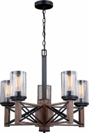 Vaxcel H0239 Colton Rustic Rustic Oak with Noble Bronze Lighting Chandelier