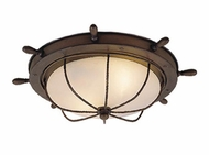 Vaxcel OF25515RC Orleans Nautical Antique Red Copper Finish 15 Wide Exterior Flush Mount Lighting Fixture