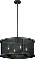 Vaxcel P0102 Wicker Park Warm Pewter Finish 16.25  Tall Drum Hanging Light Fixture