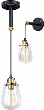 Vaxcel P0232 Kassidy Contemporary Black and Natural Brass Mini Hanging Lamp / Wall Sconce