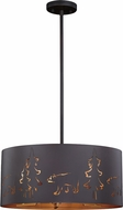 Vaxcel P0255 Katmai Contemporary Noble Bronze and Inner Brass Gold Drum Lighting Pendant