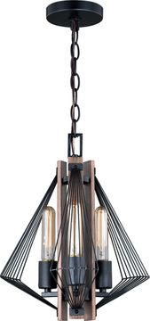 Vaxcel P0265 Dearborn Modern Black Iron with Burnished Oak Pendant Light