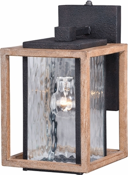 Vaxcel T0243 Modoc Textured Dark Bronze and Distressed Oak Outdoor Wall Light Sconce