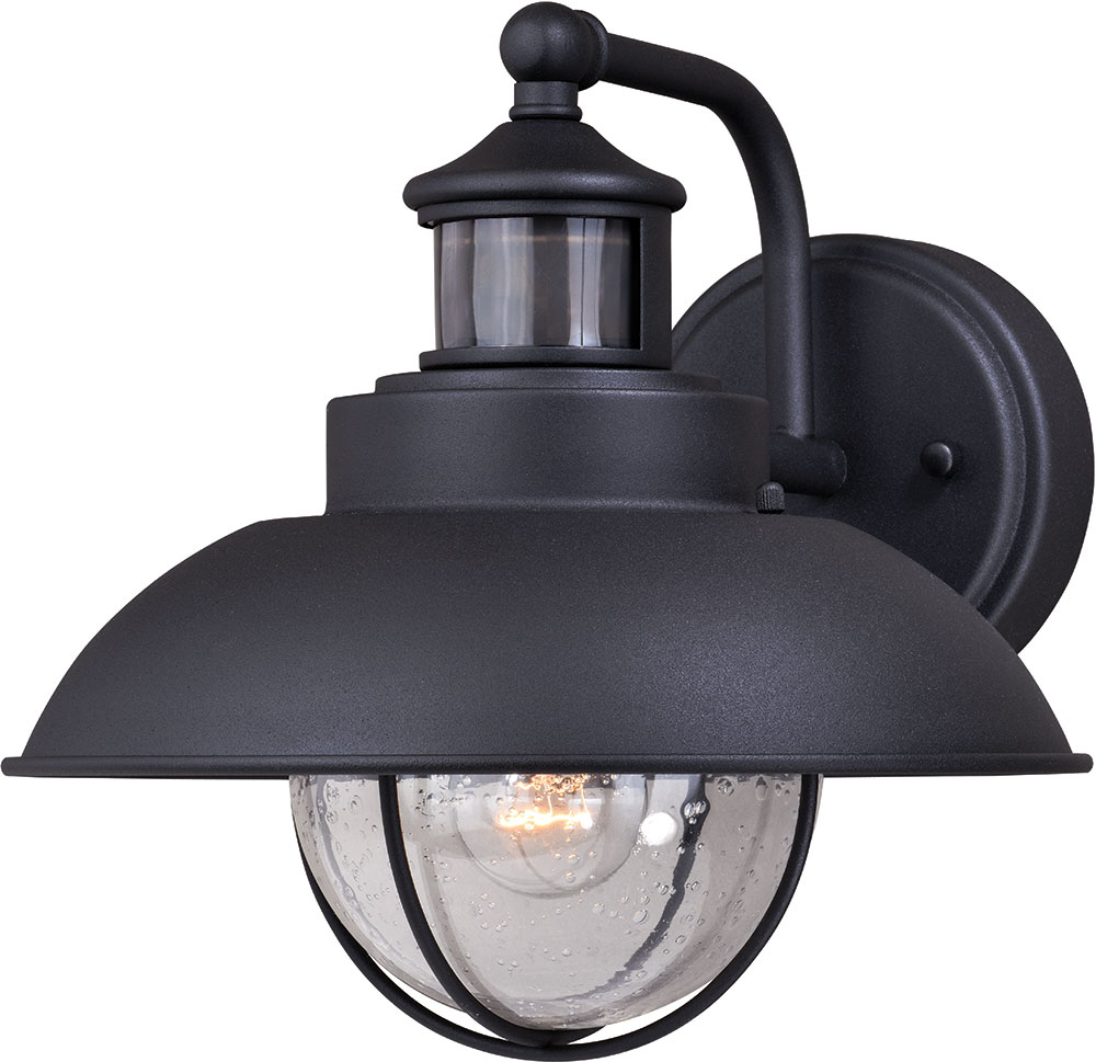 Vaxcel T0262 Harwich Dualux Textured Black Outdoor Motion Sensor W Photocell Wall Lighting Fixture