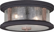 Vaxcel T0450 Cumberland Retro Textured Dark Bronze and Burnished Oak Exterior Flush Mount Light Fixture