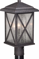 Vaxcel T0481 Maxwell Traditional Rust Iron Exterior Post Light Fixture