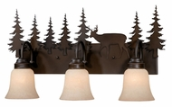 Vaxcel VL55403BBZ Bryce Country Burnished Bronze Finish 7.75  Wide 3-Light Bathroom Light Fixture