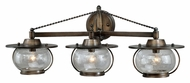 Vaxcel W0018 Jamestown Nautical Parisian Bronze Finish 10.25  Wide Halogen 3-Light Bathroom Sconce