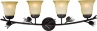 Vaxcel W0270 Sierra Country Black Walnut 4-Light Bath Lighting Fixture