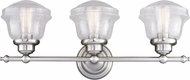 Vaxcel W0307 Huntley Contemporary Satin Nickel 3-Light Bath Light Fixture