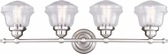 Vaxcel W0308 Huntley Modern Satin Nickel 4-Light Bath Lighting Fixture
