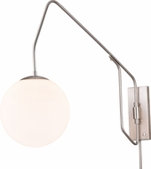 Vaxcel W0328 Marcin Contemporary Satin Nickel Wall Swing Arm Lamp