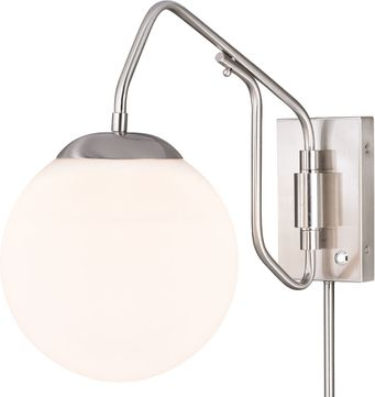 Vaxcel W0329 Marcin Modern Satin Nickel Swing Arm Wall Lamp