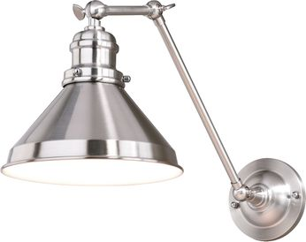 Vaxcel W0331 Alexander Satin Nickel with Inner White Wall Swing Arm Lamp