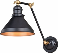 Vaxcel W0332 Alexander Oil Rubbed Bronze with Satin Brass Swing Arm Wall Lamp