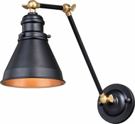 Vaxcel W0334 Alexander Oil Rubbed Bronze with Satin Brass Swing Arm Wall Lamp