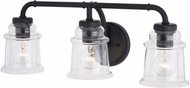 Vaxcel W0350 Toledo Matte Black 3-Light Lighting For Bathroom