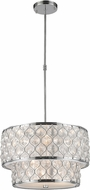 Worldwide CP410C20-CL Paris Polished Chrome 20  Drum Pendant Hanging Light