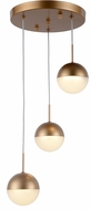 Worldwide FS812MG10 Phantasm  Modern Matte Gold LED Multi Pendant Hanging Light