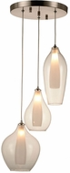 Worldwide FS826MN12 Botella  Modern Matte Nickel Halogen Multi Hanging Light