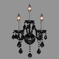 Worldwide W23103C13-BL Provence Polished Chrome Black 3-Light Lamp Sconce
