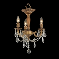 Worldwide W33302FG13 Windsor French Gold Semi Flush Mount 3 Candle Ceiling Light