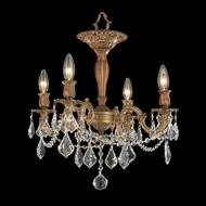 Worldwide W33303FG17 Windsor 4 Candle French Gold Semi Flush Ceiling Light Fixture
