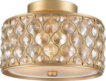 Worldwide W33412MG12-GT Paris Matte Gold Flush Mount Light Fixture