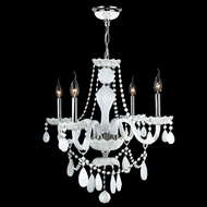 Worldwide W83095C23-WH Provence 23 Inch Diameter 4 Candle White Crystal Chandelier