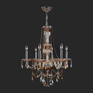 Worldwide W83096C23-AM Provence Amber Crystal 23 Inch Diameter Chandelier Light Fixture - 6 Candles