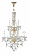 Worldwide W83098G28 Provence Gold Finish 2 Tier 12 Candle Chandeleir Light