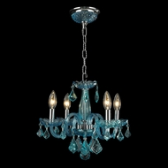Worldwide W83100C16-CB Clarion Polished Chrome Coral Blue Mini Chandelier Lighting