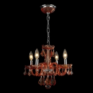 Worldwide W83100C16-CR Clarion Polished Chrome Coral Red Mini Chandelier Light