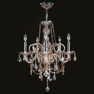 Worldwide W83102C20-AM Provence Amber Crystal 5 Candle Ceiling Chandelier Light Fixture