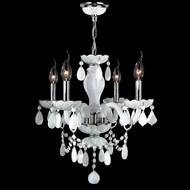 Worldwide W83103C17-WH Provence White Crystal 17 Inch Diameter Ceiling Chandelier - 4 Candles