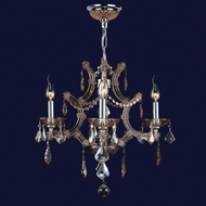 Worldwide W83115C19-AM Lyre Polished Chrome Amber Mini Ceiling Chandelier