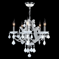 Worldwide W83116C19-WH Lyre Polished Chrome White Mini Chandelier Lighting