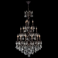 Worldwide W83327F29 Versailles 21 Candle Flemish Brass Clear Crystal Chandelier Light