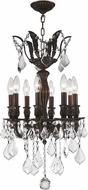 Worldwide W83332F14 Versailles Flemish Brass Clear 14  Mini Hanging Chandelier
