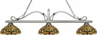 Z-Lite 114-3AS-C14 Melrose Antique Silver Multi Colored Tiffany Kitchen Island Light