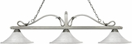 Z-Lite 114-3AS-FWM16 Melrose Antique Silver Fluted White Mottle Kitchen Island Light Fixture
