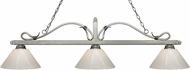 Z-Lite 114-3AS-PWH Melrose Antique Silver White Kitchen Island Light Fixture