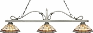 Z-Lite 114-3AS-Z14-35 Melrose Antique Silver Multi Colored Tiffany Kitchen Island Lighting