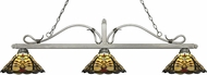 Z-Lite 114-3AS-Z14-46 Melrose Antique Silver Multi Colored Tiffany Island Light Fixture