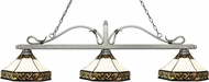 Z-Lite 114-3AS-Z16-30 Melrose Antique Silver Multi Colored Tiffany Island Lighting