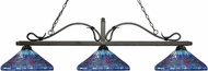 Z-Lite 114-3GB-D16-1 Melrose Golden Bronze Multi Colored Tiffany Kitchen Island Light Fixture