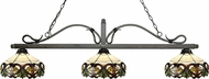 Z-Lite 114-3GB-Z14-33 Melrose Golden Bronze Multi Colored Tiffany Island Light Fixture