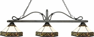 Z-Lite 114-3GB-Z16-30 Melrose Golden Bronze Multi Colored Tiffany Kitchen Island Light Fixture