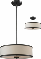 Z-Lite 165-16 Cameo Cr�me/Bronze 53.5  Tall Drum Pendant Light / Flush Mount